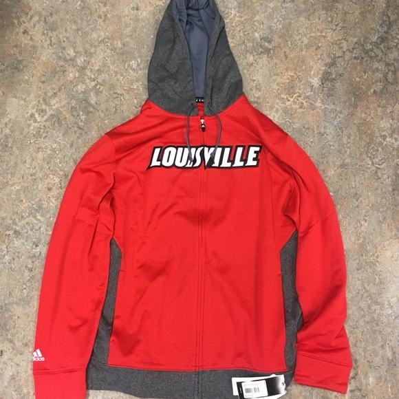 Louisville Cardinals adidas FZ Hoodie Sweatshirt NWT